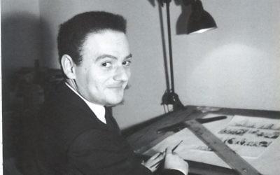René Goscinny à sa table de dessin. (Crédit :Anne Goscinny. Prêt de l'institut René Goscinny , via le Musée d'art et d'histoire du judaïsme)