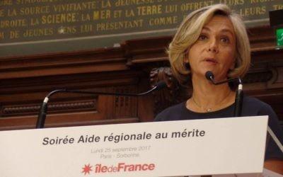 Valérie Pécresse, présidente de la région Île-de-France, à la Sorbonne, le 25 septembre 2017. (Crédit : Facebook/Valérie Pécresse)