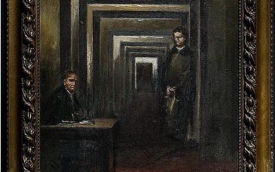 Une peinture sans titre d'Adolf Hitler exposée dans le musée italien de Salo, octobre 2017 (Crédit : Museo Del Follia)