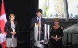Le Premier ministre canadien Justin Trudeau inaugure le monument national de l'Holocauste à Ottawa le 28 septembre 2017 (Capture d'écran : YouTube)
