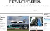 Capture d'écran de la page d'accueil du Wall Street Journal. Illustration