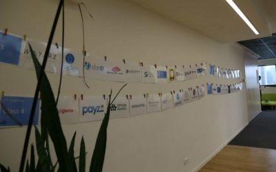 Les bureaux de Citi à Tel Aviv, avec les noms des start-up de fintech du programme d'accélérateur. (Crédit : Sivan Farag)