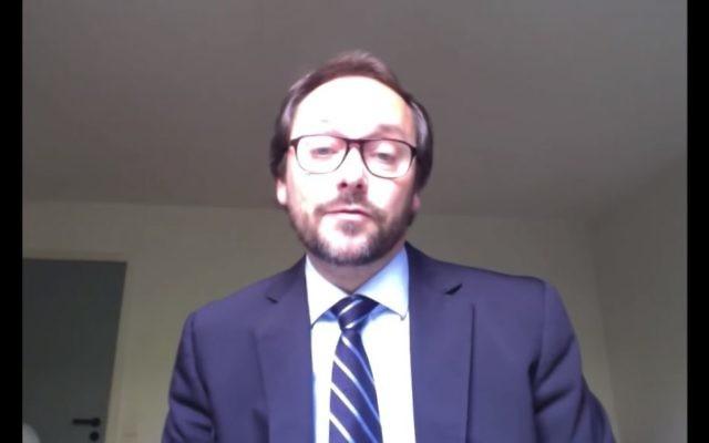 Emanuele Giaufret, nouvel ambassadeur de l'Union européenne en Israël. (Crédit : capture d'écran YouTube/UNITARHQ)