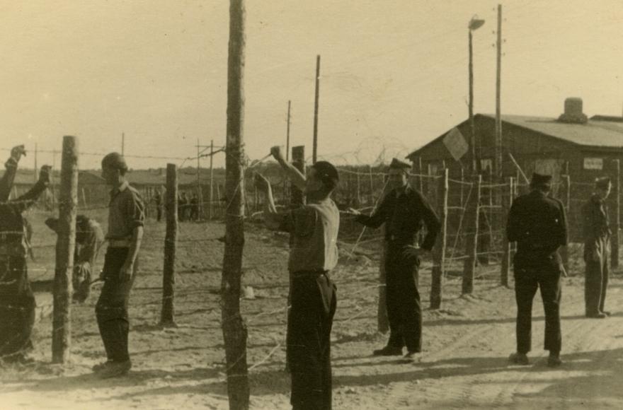 Les Juifs réparant des clôtures dans un camp de personnes déplacées en Allemagne, en septembre 1947 (Crédit : Robert Gary/via JTA)