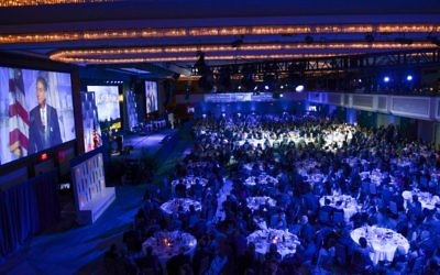 Over 1,200 people gather for a Friends of the IDF gala in New York on October 23, 2017. (Shahar Azran/FIDF)