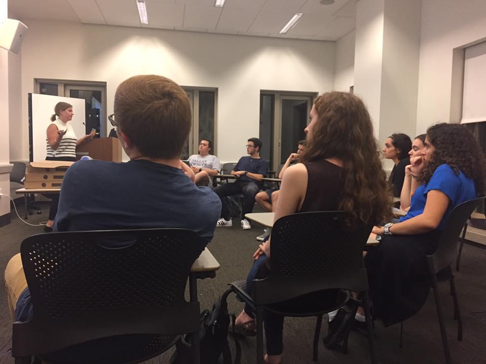 'Israel 101,' un événement parrainé par TorchPAC, un groupe de dfense d'Israël à l'université de New York. (Autorisation : Rebecca T. Stern)