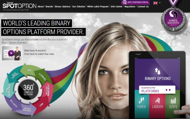 Le site de SpotOption offre une gamme d'outils et de services pour les entreprises d'options binaires, notamment des plateformes de paiement et de gestion de risque. (Capture d'écran : Spotoption.com)