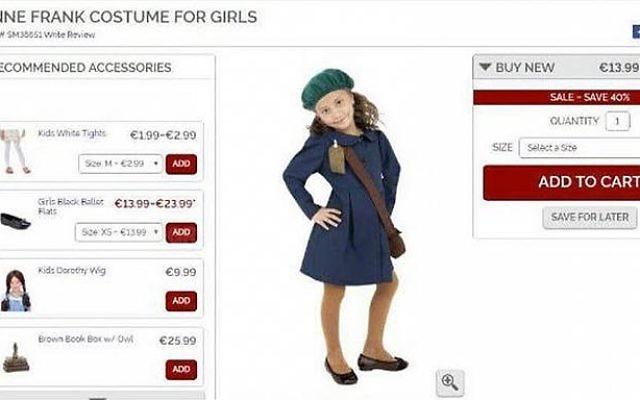 Capture d'écran d'un site de vente en ligne de déguisements proposant celui d'Anne Franck (Crédit: capture d'écran)