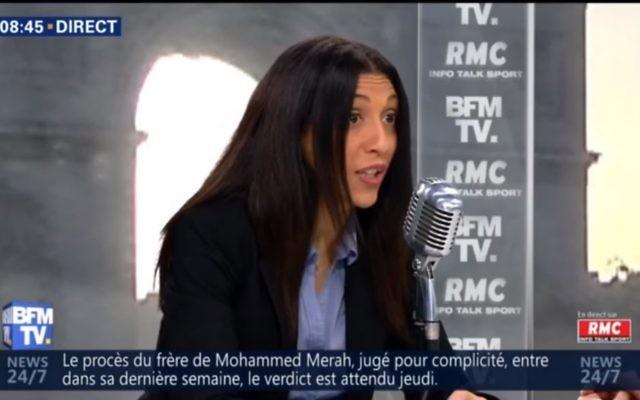 Henda Ayari dénonce Tariq Ramadan sur BFM TV. (Crédit : YouTube capture d'écran)