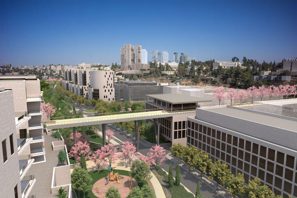 Illustration du projet de construction sur l'autoroute Begin, à Jérusalem. (Crédit : Dagan Advanced Visual Solutions)