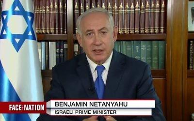 """Le Premier ministre Benjamin Netanyahu pendant l'émission """"Face the Nation"""" de la chaîne américaine CBS, diffusée le 15 octobre 2017. (Crédit : capture d'écran YouTube/Face the Nation)"""