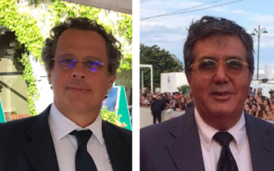 """Marco Cohen, à gauche, et Benedetto Habib à la Mostra de Venise où  a eu lieu la première de leur prochain film, """"l'Echappée belle"""" (Autorisation)"""