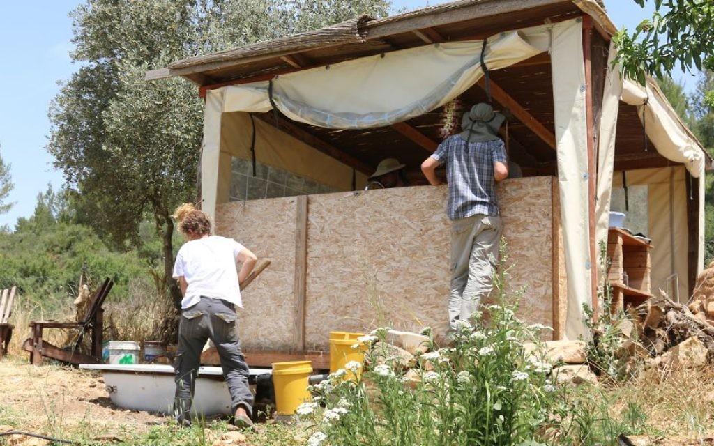 Travaux dans la ferme Kaima proche de Jérusalem. (Crédit : Shmuel Bar-Am)