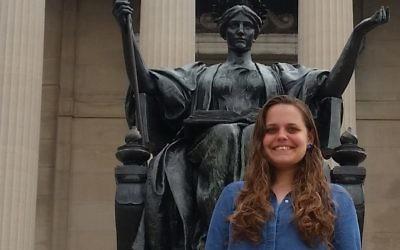Ofir Dayan à l'université de Columbia, à New York, en septembre 2017. (Crédit : Raphael Ahren/Times of Israël)