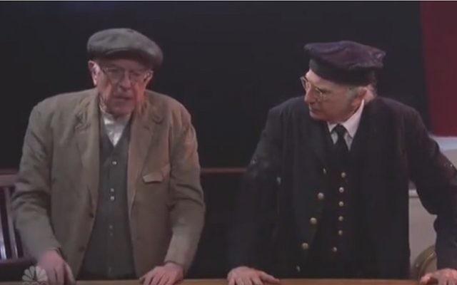 L'aspirant candidat démocrate à la présidence Bernie Sanders, à gauche, et le comédien  Larry David apparaissent dans un sketch dans l'émission  'Saturday Night Live' le 6 février 2016 (Capture d'écran :  YouTube)