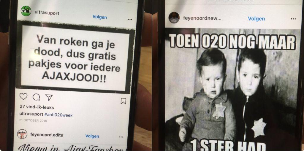 Les images de campagne antisémites contre l'Ajax d'Amsterdam. (Crédit : Erik de Vleger/Twitter)