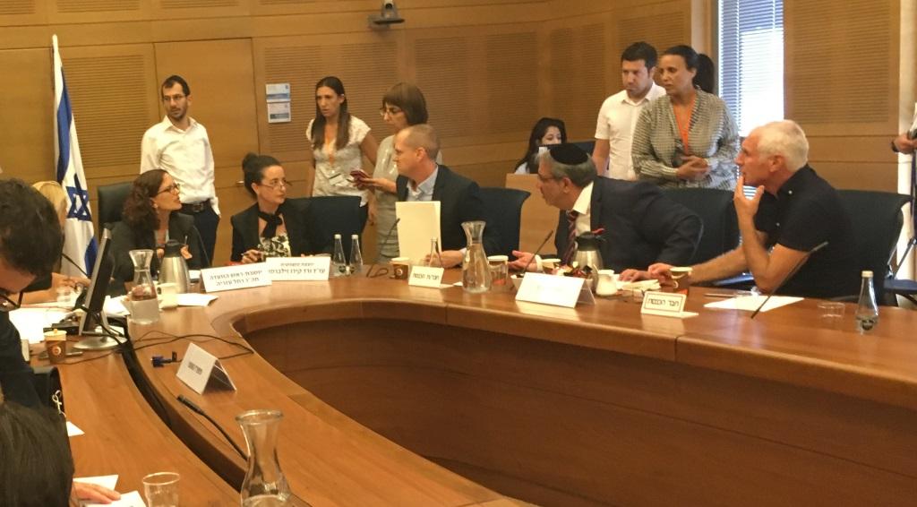 Les députés de la Knesset Rachel Azaria (Koulanou), Oded Forer (Israel Beytenu), Yigal Guetta (Shas) et Haim Jelin (Yesh Atid) lors d'une rencontre de la Commission des réformes de la Knesset consacrée au projet de loi visant l'interdiction de l'industrie des options binaires en Israël, le 7 août 2017 (Crédit : Times of Israel)