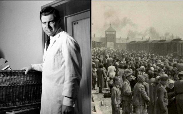 Le médecin nazi Josef Mengele lorsqu'il était jeune médecin et la rampe d'accès à Auschwitz-Birkenau en mai 1944, où Mengele a parfois sélectionné des détenus pour des expérimentations (Crédit : Domaine public)