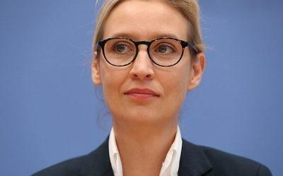 Alice Weidel,  co-dirigeante du parti de l'Alternative pour l'Allemagne, à Berlin après les élections allemandes, le 25 septembre 2017 (Crédit :Sean Gallup/Getty Images)