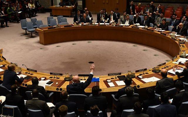 Le conseil de sécurité de l'ONU vote pour étendre les enquêtes sur la responsabilités des attaques aux armes chimiques en Syrie aux Nations-Unies, le 24 octobre 2017 (Crédit : AFP PHOTO / TIMOTHY A. CLARY)