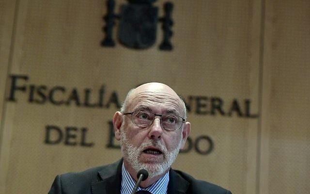 Le Procureur général espagnol Jose Manuel Maza au cours d'une conférence de presse au bureau du Procureur général de Madrid, le 30 octobre 2017 (Crédit : AFP PHOTO / JAVIER SORIANO)