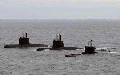Archive diffusée par Telam, montrant les sous-marins ARA San Juan, ARA Salta et ARA Santa Cruz à leur arrivée à la base navale de Mar del Plata, le 13 juin 2014. (Crédit : AFP/ TELAM / ARGENTINA'S DEFENSE MINISTRY)