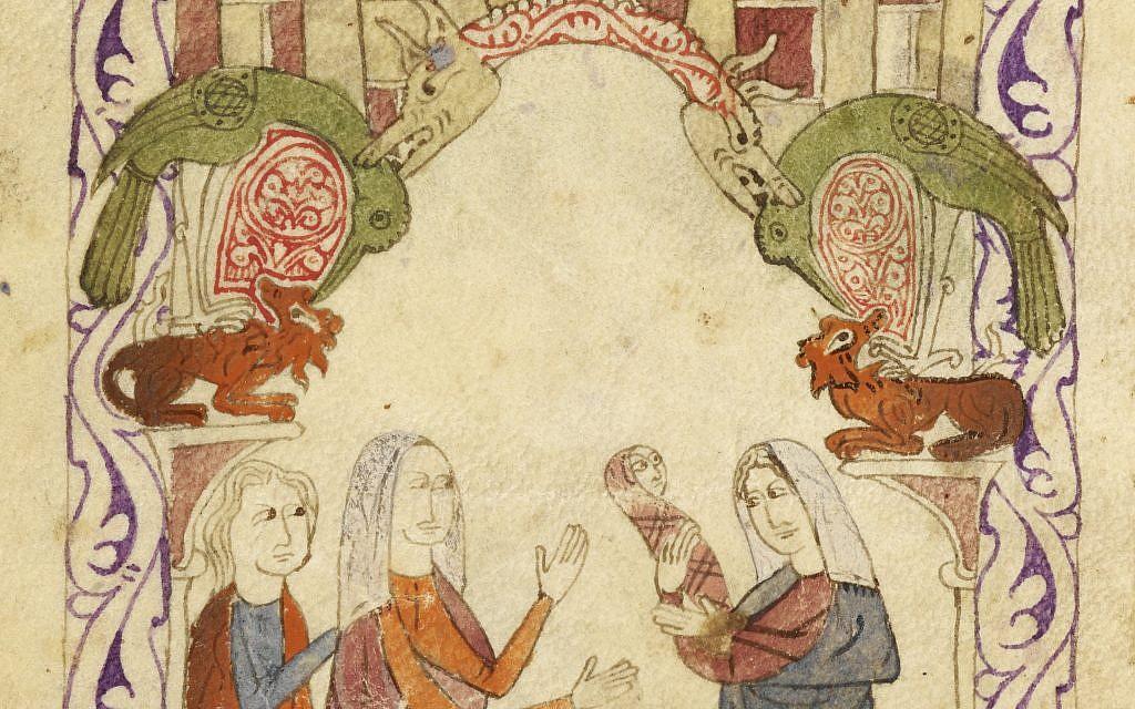 Représentation de la découverte de Moïse par la fille de Pharaon dans le Nil. Haggadah hispano-mauresque, Espagne 1275-1324 (Crédit : autorisation de la British Library)