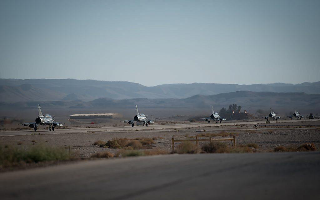 Des avions de chasses prennent part à l'exercice international Blue Flag en novembre 2017. (Crédit : armée israélienne)