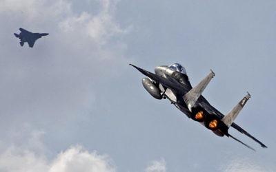 Un F-15 de l'armée de l'air israélienne lors de l'exercice international Blue Flag, à la base militaire d'Ovda, le 8 novembre 2017. (CréditJack Guez/AFP)