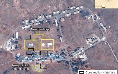 Image satellite d'une base iranienne présumée en Syrie datant du mois de mai 2017 (Crédit : Airbus, Digital Globe and McKenzie Intelligence Services/BBC)