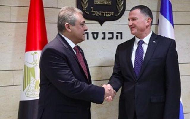 L'ambassadeur égyptien en Israël Hazem Khairat avec le président de la Knesset Yuli Edelstein à la Knesset, le 21 novembre 2017 (Crédit : porte-parole de la Knesset)