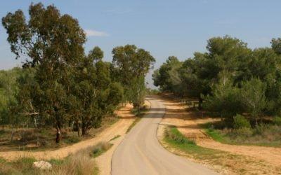 Une route aux abords du Kibbutz Beeri, qui fait partie du sentier national israélien de randonnée (Crédit :  Chen Leopold/Flash90)