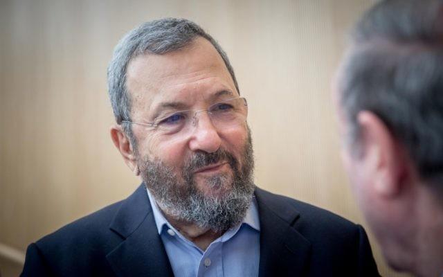 L'ancien Premier ministre Ehud Barak assiste à une conférence marquant le 50ème anniversaire de la guerre des Six Jours, à l'Institut Ben Zvi de Jérusalem le 5 juin 2017 (Crédit : Yonatan Sindel / Flash90)