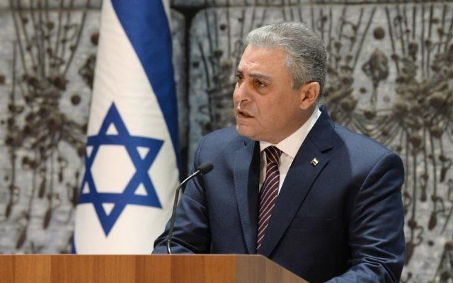 Hazem Khairat à la résidence du président à Jérusalem, le 22 novembre 2017 (Crédit : Mark Neiman)