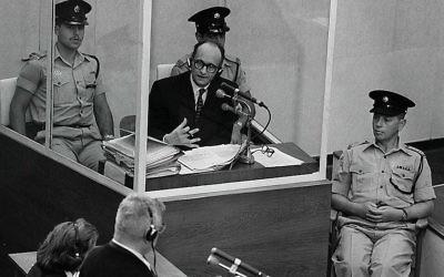 Adolf Eichmann, lors de son procès en 1961. (Crédit : GPO)