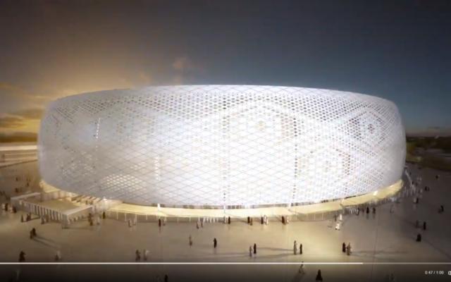 Maquette du site Al Thumama, au Qatar, ou aura lieu la Coupe du Monde de Football en 2022. (Crédit  capture d'écran via Twitter)