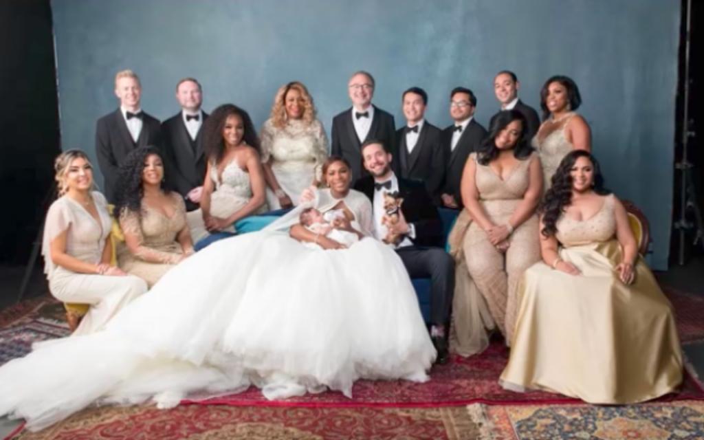 Le mariage de Serena Williams et Alexis Ohanian, le 17 novembre 2017. (Crédit : capture d'écran YouTube)