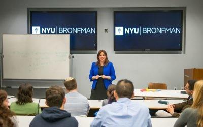 La vice-ministre aux Affaires étrangères  Tzipi Hotovely lors de son allocution à l'université de New York, le 7 novembre 2017  (Crédit : Aleksey Rosenfeld)