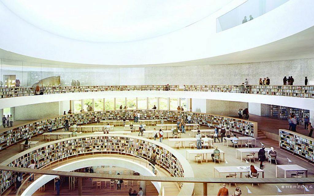 Les 3 étages dédiés à la lecture, de la nouvelle Bibliothèque nationale d'Israël, avec un puits de lumière au plafond. (Crédit : The National Library of Israel)