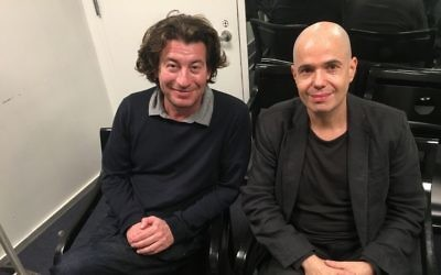 Ferenc Török, à gauche, réalisateur de '1945', et Gábor Szántó, co-auteur. (Crédit : Jordan Hoffman/Times of Israel)