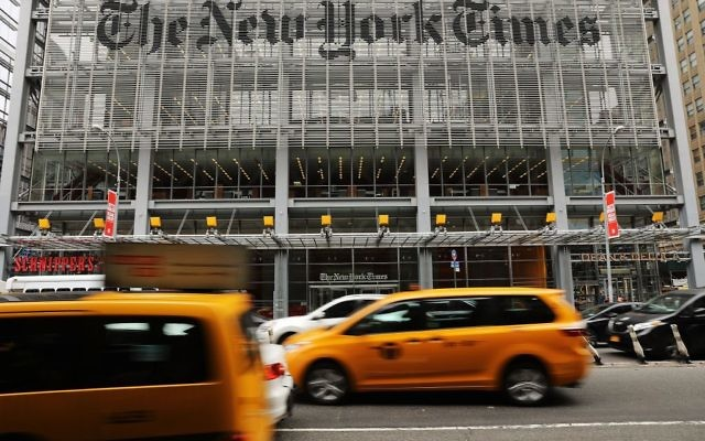 Le siège du New York Times, à Manhattan, en juillet 2017. (Crédit : Spencer Platt/Getty Images/via JTA)