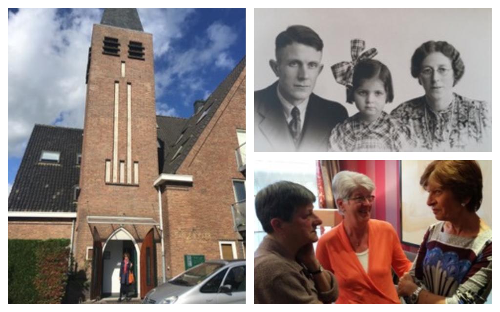 Dans le sens des aiguilles d'une montre, à partir de la gauche: L'église que Renate aurait fréquenté  pendant la guerre; Aad et Fie Versnel avec Renate, vers 1945; Renate réunie en 2015 avec Cobi et Els après plus de 50 ans. (Crédit : Autorisation de Nadine Wojakovski)