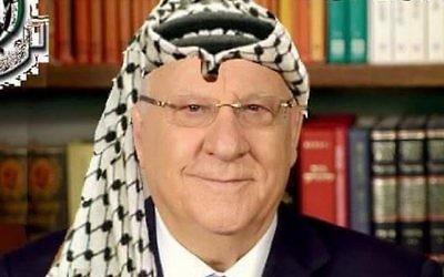 Photomontage montrant Reuven Rivlin coiffé d'un keffieh, suggérant qu'il est un traître car il a refusé de gracier Elor Azaria (Crédit : Facebook)