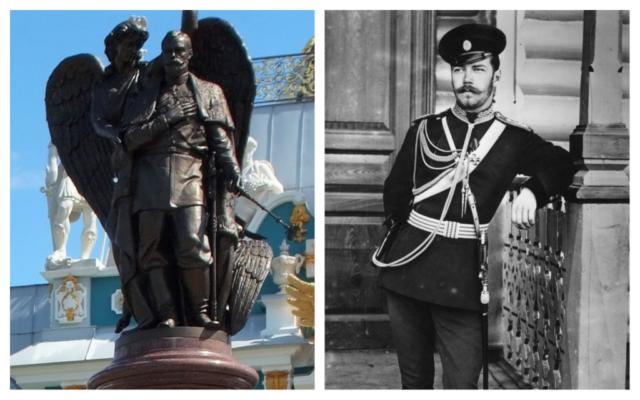 Le Tsar Nicholas II vers 1890 ; un monument en l'honneur du tsar, à Vyritsa, en Russie. (Crédit : CC-SA/KulikovaTV)