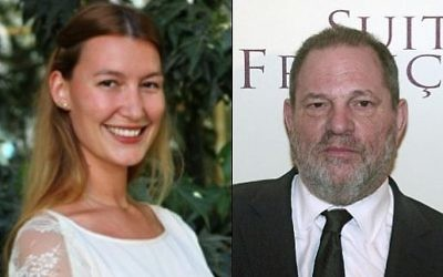 Collage montrant la présumée agent de l'entreprise de renseignement israélien Stella Penn Pechanac (à gauche) et le producteur américain Harvey Weinstein (à droite).