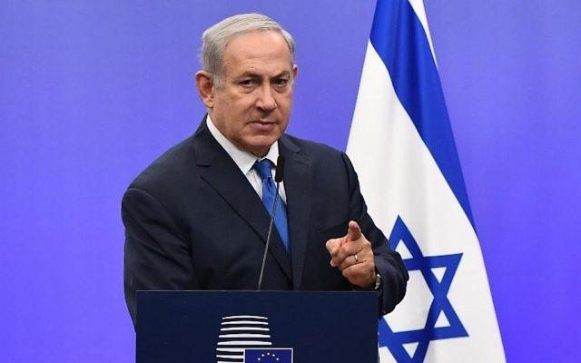 Benjamin Netanyahu à Bruxelles, le 11 décembre 2017 (Crédit : AFP/EMMANUEL DUNAND)