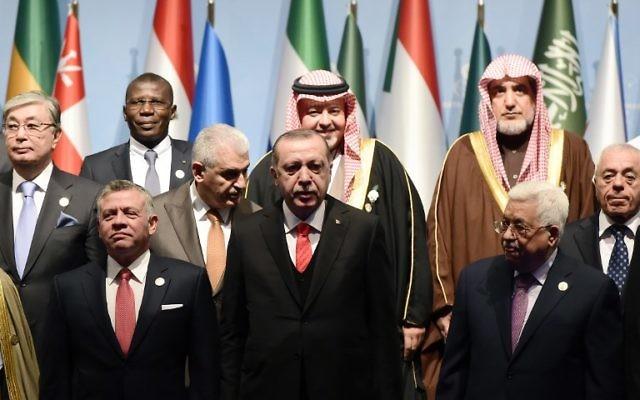 Le président turc Recep Tayyip Erdogan, au centre, entouré du roi Abdullah II de Jordanie, et à droite, le président de l'Autorité palestinienne Mahmoud Abbas, pose pour des photos avec d'autres dirigeants lors d'une séance photo avant l'ouverture de l'Organisation de coopération islamique à Istanbul, le 13 décembre 2017AFP PHOTO / YASIN AKGUL