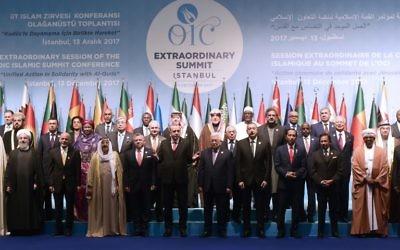 Les leaders et représentants des pays musulmans durant un sommet extraordinaire de l'OCI (Organisation de la coopération islamique) sur la reconnaissance de Jérusalem comme capitale d'Israël, à Istanbul, le 13 décembre 2017. (Crédit : AFP / YASIN AKGUL)