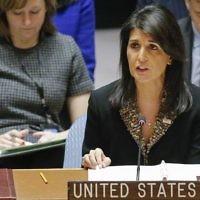 L'ambassadrice américaine à l'ONU Nikki Haley s'exprime durant une rencontre du Conseil de sécurité au Moyen Orient le 18 décembre 2017 au siège des nations unies à New York (Crédit : AFP/Kena Betancur)