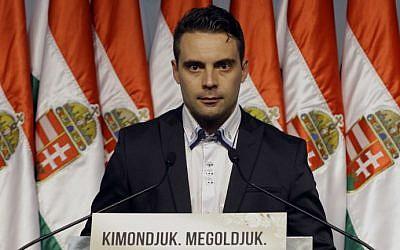 Le président du parti parlementaire d'extrême-droite hongrois Gabor Vona. (Crédit: AFP PHOTO/Peter Kohalmi)
